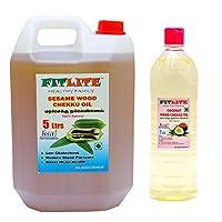 FITLITE Combo Sesame Chekku Oil 5 LTR + Nature Coconut Wood Chekku Oil 1 LTR