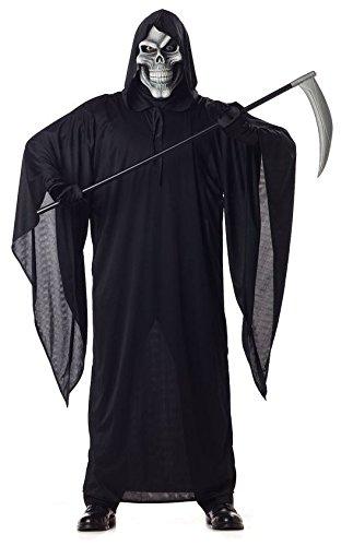 Sensen-Mann-Kostüm Tot-Verkleidung Herren Schwarz Damen Geist Skelett Fasching Karneval Umhang Gewand Halloween Death Hölle Dämon (Kostüm Mann)