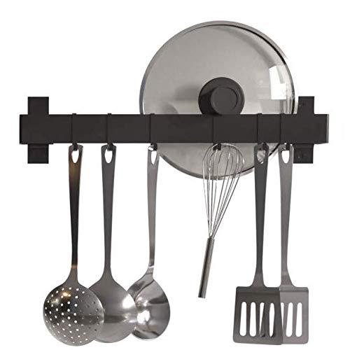 KES KUR216S75-BK - Estante de Pared para Utensilios de Cocina sin Clavos, Barra de Metal con 6 Ganchos...