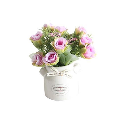Homeofying, Fiore Artificiale in Vaso con Vaso in Ceramica, per Bonsai, palcoscenico, Giardino, Matrimonio, casa, Feste, 1 Pezzo Rose Red