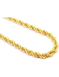 DzineTrendz Yellow Gold Tone 16 Inch 5mm Thick Rope Design Stylish Fashion Chain Necklace Jewellery For Men Women...