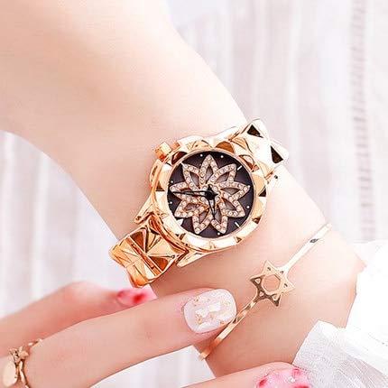 men Blume Uhr Edelstahl Strass Kristall Luxus Frauen Uhren Armband Uhr montre Femme 29mm Rose Gold ()