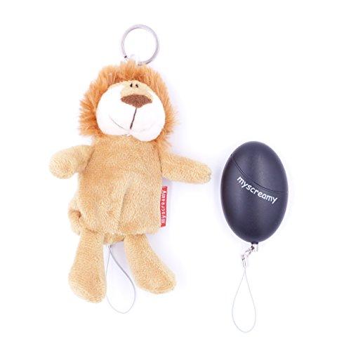 myscreamy - Schutz-Löwe Schlüsselanhänger und Personenalarm | Taschenalarm extrem laut | Panik-Alarm bietet Hilfe bei Belästigung, Überfall | Selbstverteidigung für Frauen | Mini Alarm Armband Schlüssel-schlaufe