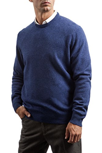 Great and British Knitwear Men's 100% Lambswool Plain Crew Neck Jumper. Made In Scotland