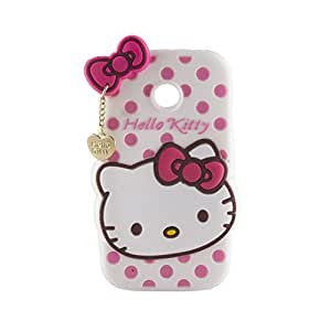 Go Crazzy Motorola Moto E Cute Hello Kitty Soft Silicone Case, 3D Cartoon Polka Dots Hello Kitty Silicon Gel Rubber Case Cover Skin for Motorola Moto E With free Android USB Charging Data Cable, High Speed Extra Long USB Charger Sync Cable Cord for all Android smart phones