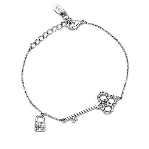 Beloved ❤️ braccialetto da donna con cristalli - linea jasmine - con charms e ciondoli - lunghezza regolabile - bracciale placcato argento (chiave)