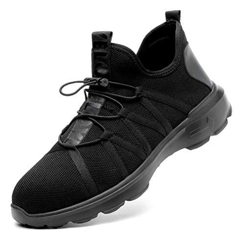 AIXSHOE Scarpe Antinfortunistiche S1P Sneaker da Lavoro Leggere Sportive con Punta in Acciaio Leggere Traspiranti Uomo Donna,Nero,43EU