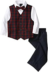 Nautica Little Boys Mini Tartan Vest Set, Navy,5