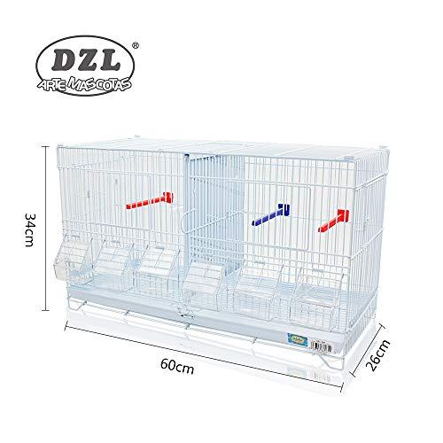 DZL® Jaula metálica de criar para pájaros (60 * 26 * 34cm M)