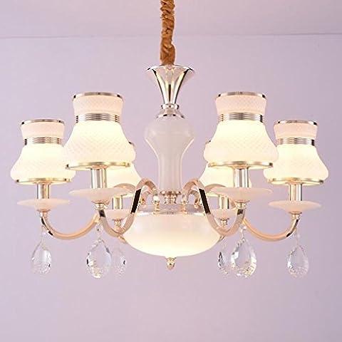 XIAOJIA Lustre en cristal européen, lampe de chambre à coucher minimaliste moderne, Restaurant Hôtel LED lustres décoratifs ,