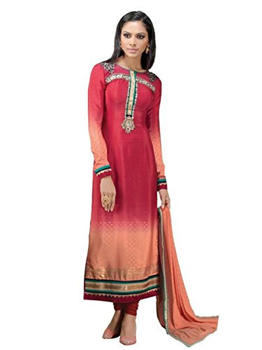 Indian Designer Salwar Suits Frech Crape Peach Color Semi Stitched Dress