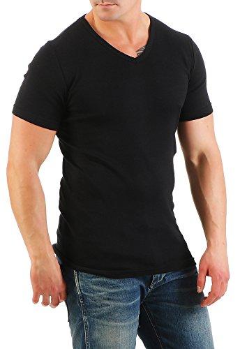 2er Pack Herren T-Shirt mit V-Ausschnitt Nr. 446/1500 ( Schwarz-Weiß / XXL ) - 3