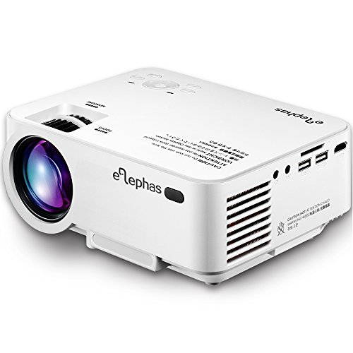 ELEPHAS Home Theater Projector, ELEPHAS 1500 Lumens LED Mini Multimedia Video Projector Portable for Home Theater Cinema, TV, Football Games, Parties and Video Games Entertainment, White