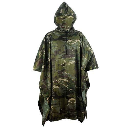 Leichter Regenponcho mit Kapuze – Wasserdicht Atmungsaktiv Multifunktion – Unisex Regenmantel für Freizeit Jagd Angeln Camping – Camouflage Regenjacke Tarnmantel (Woodland)