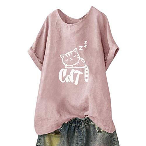 BCFUDA Bluse Frauen Casual Kätzchen Druck Kurzarmhemd Sommer Lose Atmungsaktiv Strandhemd Mode Wild O-Ausschnitt Baumwolle Einfarbig T-Shirt