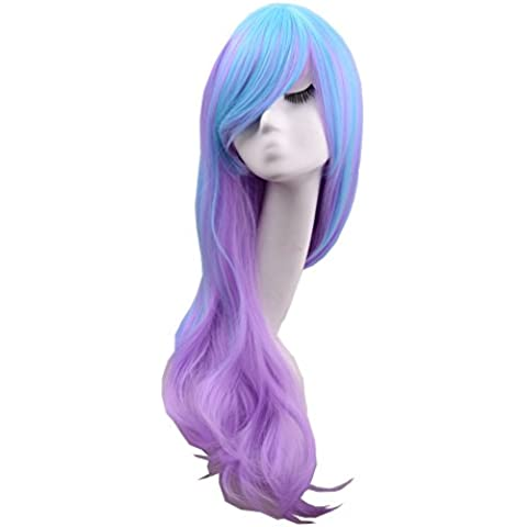 De las mujeres de Hosee 80 cm largo y de mezcla de color azul y morado y multicolor-juego de punto de la onda Lolita de honor de ratón traje de baño de pelo rizado de las pelucas