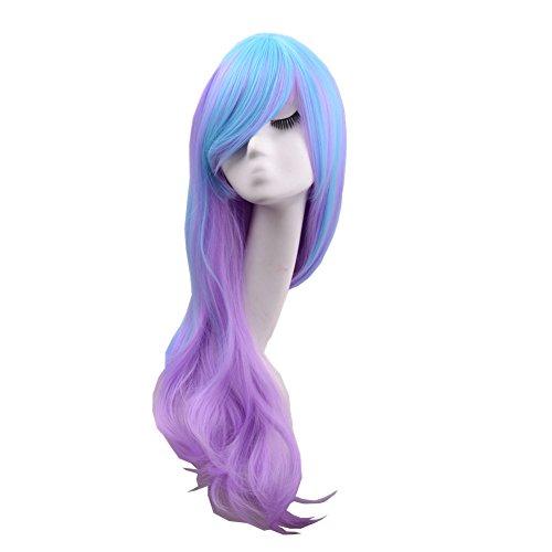 ang Blend blau violett mehrfarbig Lolita Maid Cosplay Kostüm Curly Wave Perücken (Lange Maid Kostüme)