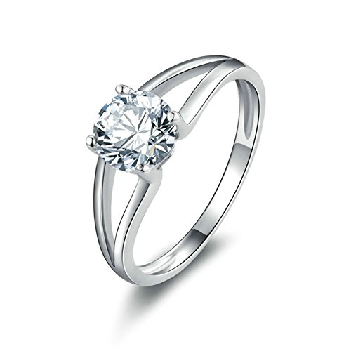 Frauen Für Kostüm Futuristisches ((Custom Ringe)Adisaer Ring 925 Sterling Silber Damen Hohl Linien Runde Kristall CZ Verlobungsring Größe 50 (15.9) Kostenlos)