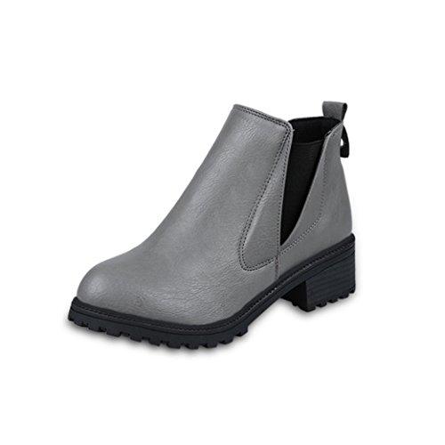 Tefamore nouvelles bottines femmes d'hiver bas bottes de mode à talons automne hiver bottes chaussures Gris