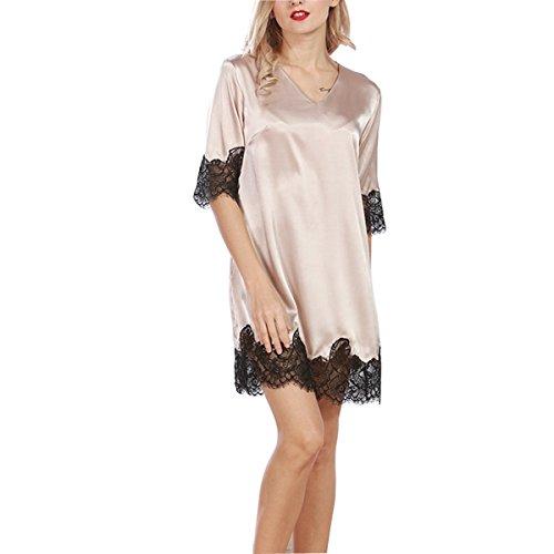 BigForest Femmes V-neck Satin Soie Peignoir with lace Pyjama v¨ºtements de nuit robe Champine