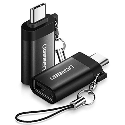 UGREEN USB C Adapter USB 3.0 OTG Adapter 2 Stück USB C auf USB 3.0 Adapter unterstützt für MacBook Pro, Samsung S9 S8 A5, Huawei P20 Mate10 pro P10, LG G6 G5, HTC U11 usw. Alulegierung Schwarz -