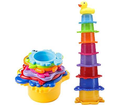 Lesonic Kinder Badewannenspielzeug Set - 8x Stapelbecher mit einer Badeente | 2 in 1: Wasser/Sand Abfliessen, Becher Stapeln | Spielzeug für Baby - BPA frei Badespielzeug Sandspielzeug