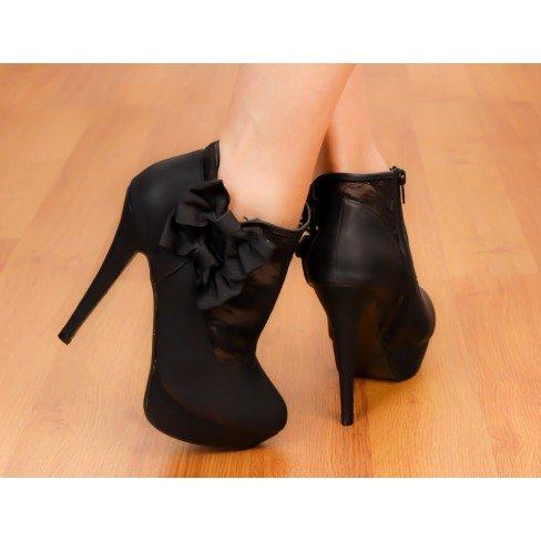 Princesse boutique - Low boot à dentelle et noeud noir Noir