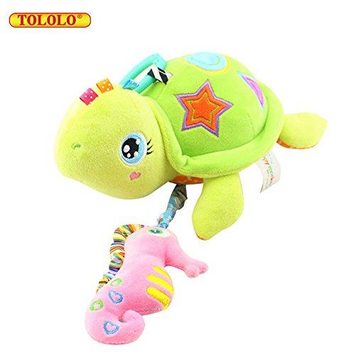 Baby Kleinkindspielzeug Stoff Musical Bunte Farben für Kinderwagen Hänge ab 0 Monate,Schildkröte
