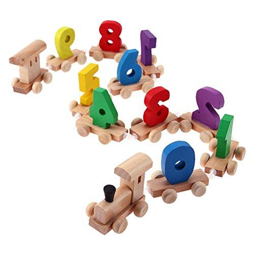 Domybest Kinder Holz Digital Kleine Zug 0-9 Anzahl Eisenbahn Modell Holz Kinder Spielzeug -
