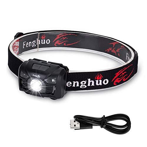 Fenghuo HL02 Stirnlampe, wiederaufladbar, wasserdicht, Sensor Stirnlampe, 500 Lumen, 5 Modi, leicht verstellbar, für Laufen, Angeln, Camping, Wandern