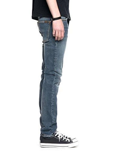Nudie Jeans Herren Jeans mit Geradem Bein Grim Tim Blau