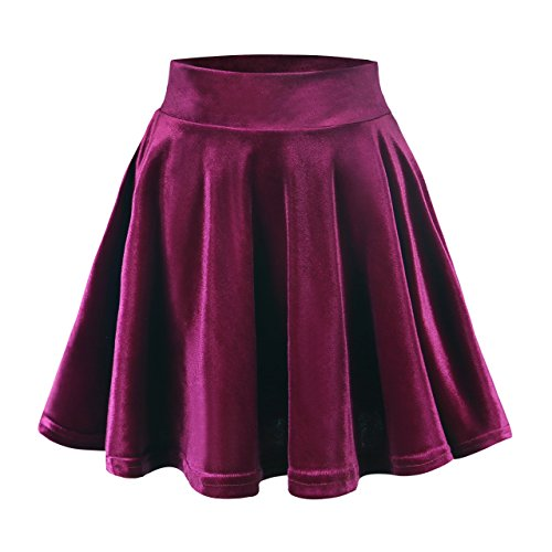 Urban GoCo Donna Vintage Svasata Mini Gonna da Pattinatrice Versatile Elastica di Velluto Gonna Vino rosso