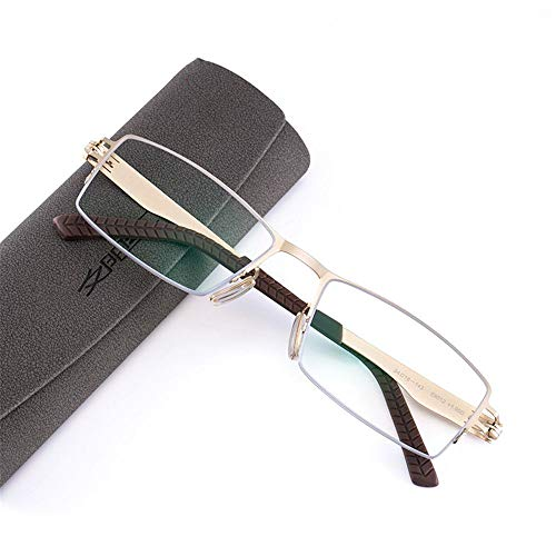 KOMNY Blu-ray Lesebrille Intelligente Lesebrille Männer nah und fern Dual-Use-HD automatische Zoom Damenmode Ultra-leichte Doppel-Licht Farbe Brille Gold 150 Grad Anti-Blau-Licht, A + 300