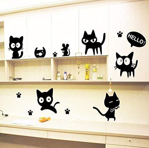 Schwarze Katzen Wandaufkleber Removable Vinyl Home DIY Kunst Aufkleber Dekor Kinderzimmer Aufkleber Kühlschrank Wandbild selbstklebende Wand Plakate