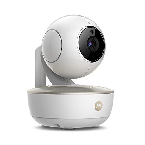 Motorola MBP 88 Connect - Cámara de vídeo vigilabebés portátil con Wi-Fi, modo eco, alertas para movimiento, sonido y temperatura ambiente y Moto StarGrip, color blanco