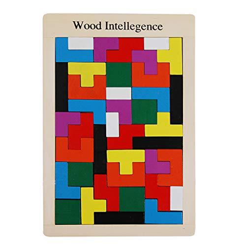 FBGood Kinder Tetris Holzpuzzle Spielzeug, 40 Blöckes DIY Puzzles Pädagogisches Entwicklungs Spielzeug Tangram Lernspielzeug Bausteine Jigsaw Bausatz Geschenk für Mädchen und Jungen