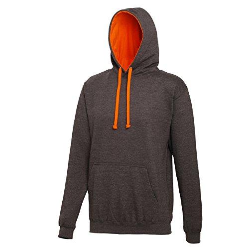 Varsity hoodie Charcoal-Orange Crush AWDis Hoods Streetwear Felpa Cappuccio Uomo Charcoal-Orange Crush