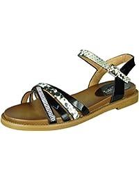 Diamante Flats para Mujer, con Estampado de Serpientes, Sandalias de Verano, Zapatos con