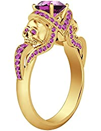 Silvernshine 1.52Ct Pink Sapphire CZ Diamond 14K Yellow Gold PL Weddding&Engagement Two Skull Ring