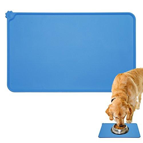 Napfunterlage Futtermatte aus Silikon für Katze oder Hund rutschfest wasserdicht Fressnapfunterlage mit Rand Auch als Schuhmatte Unterlage geeignet Grau Blau Pink (Blau)