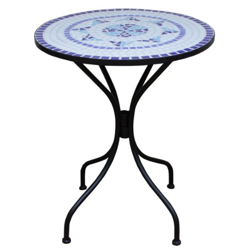 Deuba Mosaic Bistro Table with Powder Coated Steel Base Outdoor Round Garden Balcony Tables Blue