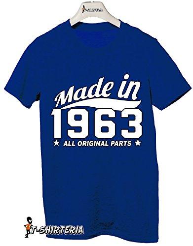 Tshirt Made in 1963 - idea regalo per compleanno - Tutte le taglie by tshirteria Blu