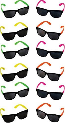 Rhode Island Novelty Neon 80's Stil Party Sonnenbrille mit Dark Lens (Pack of 12) (Auslaufmodell)