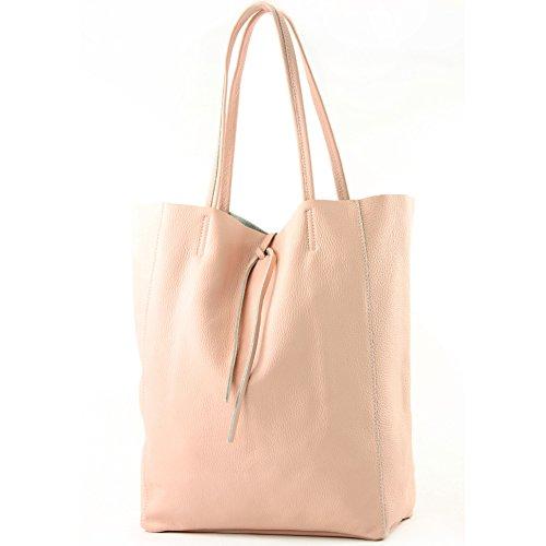 modamoda de - T163 - Ital. Shopper mit Innentasche aus Leder, Farbe:Rosa -