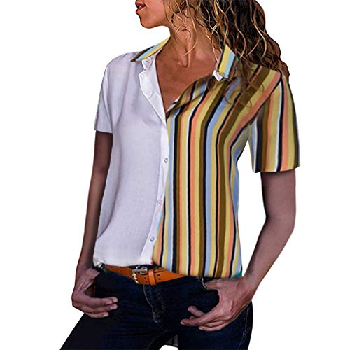 Dorical Sommer Damen Streifen Blusen Kurzarm V Ausschnitt Mode T-Shirt Oberteil Elegant Hemd Top Bluse Casual Mode Knopf T-Shirt Tunika Blouse Oberteile S-XL Ausverkauf(Gelb-2,Small)