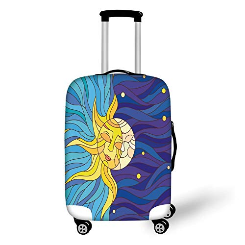 Travel Luggage Cover Suitcase Protector,Sun and Moon,Artistic Sky with Colorful Waves Sun and Moon Couple In Love Days Cycle Myth Decorative,Multicolor,for Travel L
