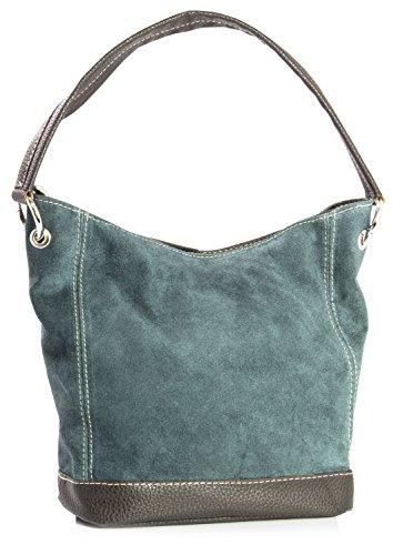 Big Handbag Shop - borsa con manico in vera pelle scamosciata italiana, con finiture in similpelle Teal (NL389)