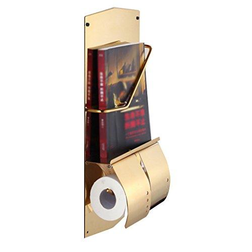 YAOHAOHAO Edelstahl Bücher und Zeitungen Flugzeuge Rollenpapier Rack Magazine Rack Doppel Toilettenpapierhalter Multifunktionshebel (Magazin Zeitung Rack)