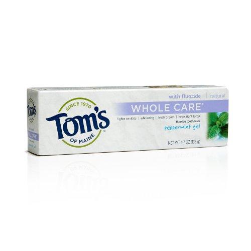 Whole soins Flouride Dentifrice, menthe poivrée Gel, 4,7 oz (133 g) - Tom du Maine