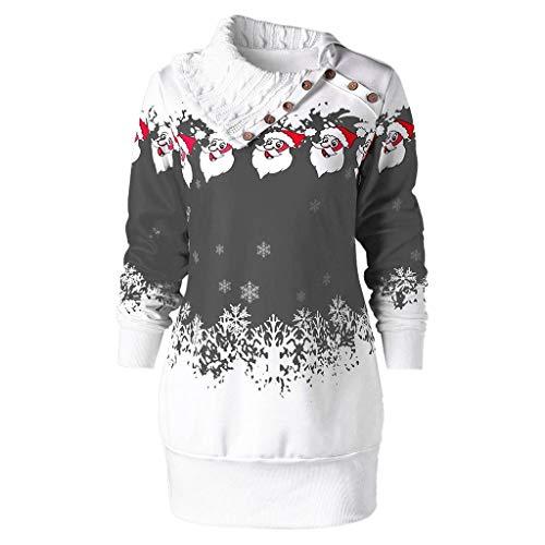 LILIHOT Damen Christmas Santa Claus Schneeflocke Print Knöpfe Tunika Lange Sweatshirt Top Einzigartiges Mode Frohe Weihnachten Schneeflocke Gedruckt Tops Cowl Neck Casual Sweatshirt Bluse -
